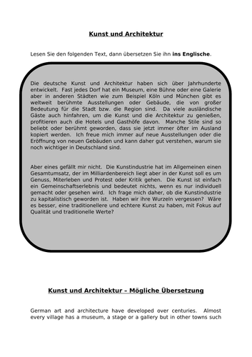Kunst und Architektur - translation into English for AQA A Level German