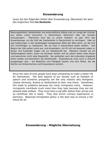 Einwanderung - translation into German for AQA A Level