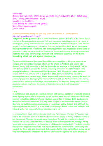 WJEC notes / essays on Henry Vii