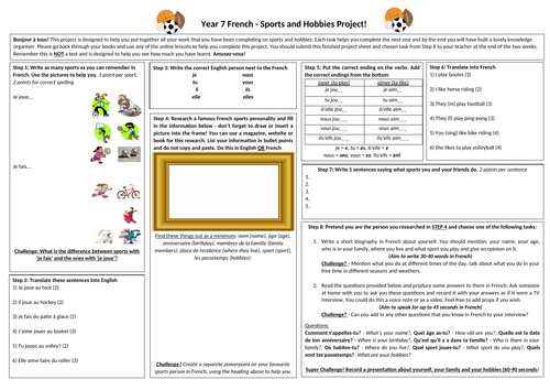 French - Sports and Hobbies Project