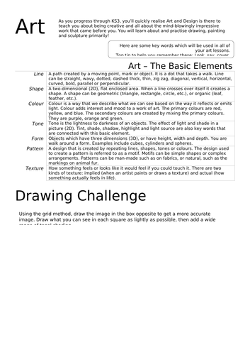 Year 6 Transition Worksheet - Art