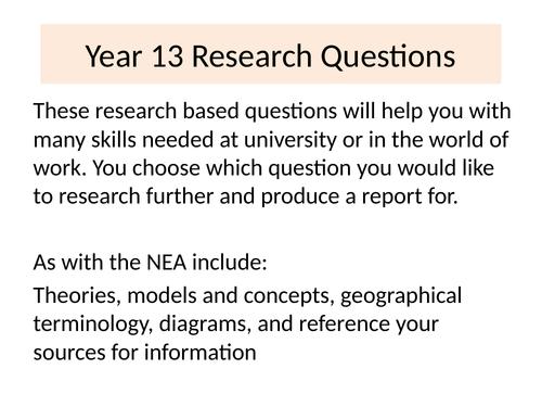 Year 13 University Preparation Research Tasks