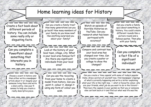 Home Learning Activities - History | Teaching Resources