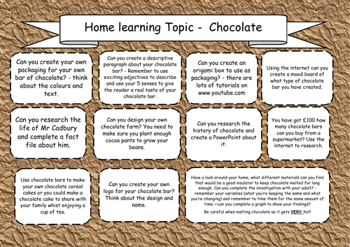 Home Learning Topic - Chocolate