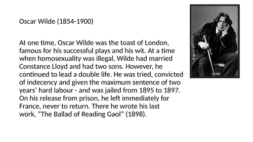 """Poetry """"The Ballad of Reading Gaol"""" (excerpt) Oscar Wilde Close Reading Analysis Unseen Questioning"""
