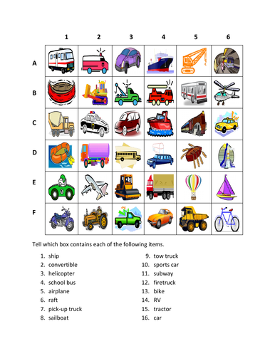 Vehicles in English Transportation Find it Worksheet