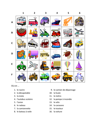 Véhicules (Vehicles in French) Transport Worksheet
