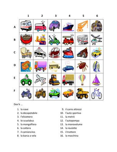 Veicoli (Vehicles in Italian) Trasporti Find it Worksheet