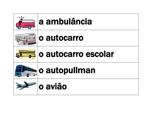 Veículos (Vehicles in Portuguese) Transporte Word Wall
