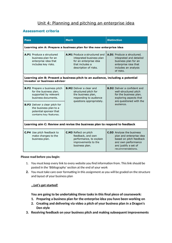 Unit 4 writing frame- Level 2 BTEC Technical in Business Enterprise