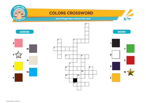 Colors Vocabulary Crossword