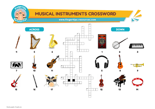 Musical Instruments Vocabulary Crossword