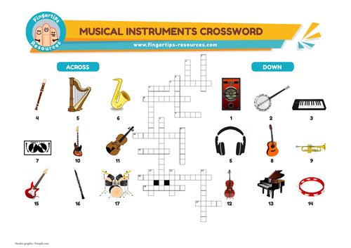 Musical Instruments Vocabulary Crossword