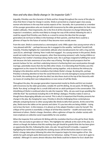 An Inspector Calls example GCSE Literature essay - Sheila's change (2 differentiated examples)