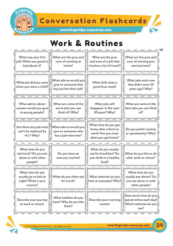 Work & Routines - Conversation Flashcards