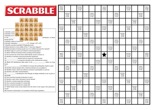 OCR GCSE PE Scrabble Games