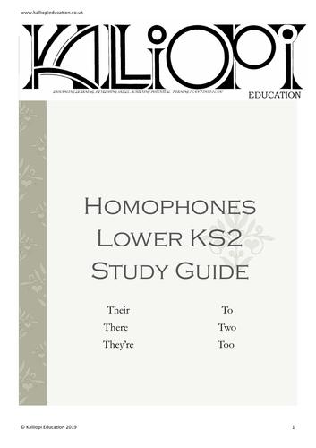 Homophones study guide