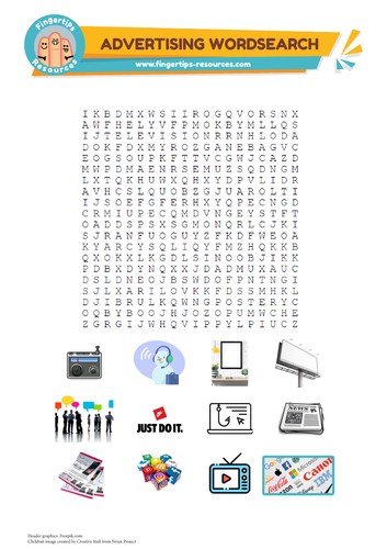 Advertising Vocabulary Word Search