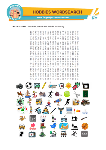 Hobbies & Free time Vocab Word search
