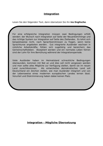 Integration - translation into English for AQA A Level German