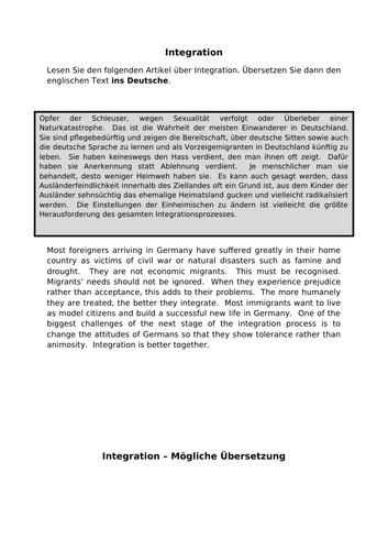 Integration - translation into German for AQA A Level German