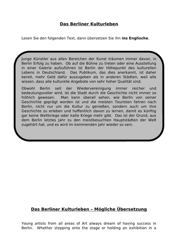 Das Berliner Kulturleben - translations into German and English