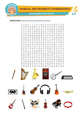 Musical Instruments Vocabulary Word Search