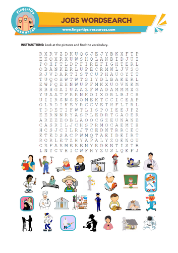 Jobs Vocabulary Word Search