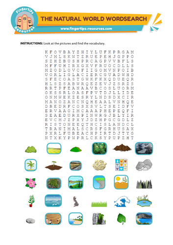 The Natural World Vocabulary Word Search
