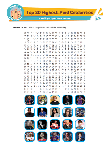 Top 20 Highest-Paid Celebrities Word Search