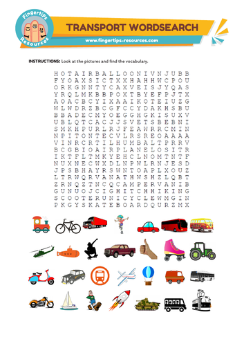 Transport Vocabulary Word Search