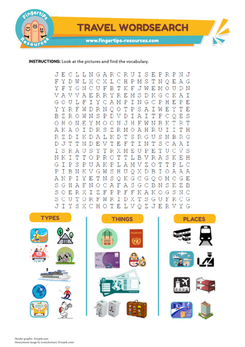 Travel & Holidays Vocabulary Word Search