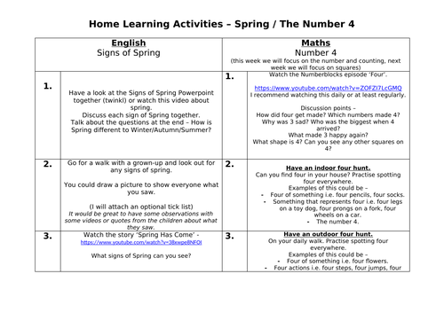 Spring and Number 4 (numberblocks) Home Learning Activities
