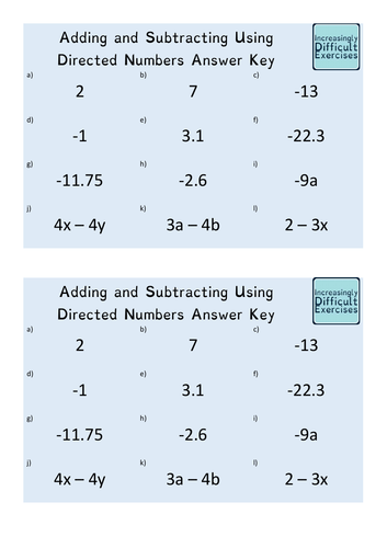 Increasingly Difficult Questions - Adding and Subtracting Using Directed Numbers