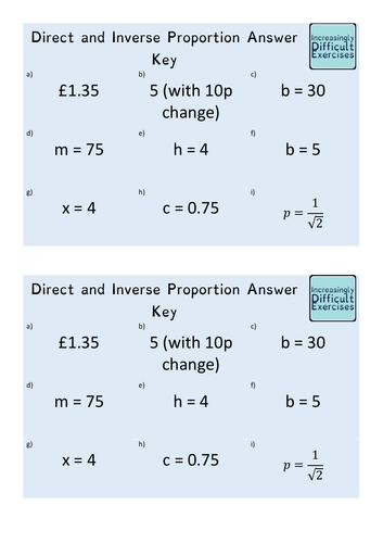 Increasingly Difficult Questions - Direct and Inverse Proportion