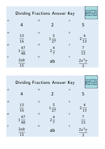 Increasingly Difficult Questions - Dividing Fractions