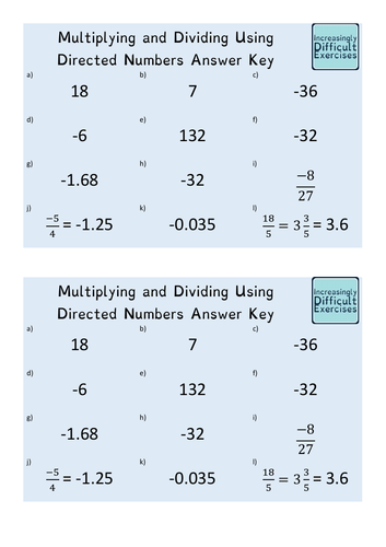 Increasingly Difficult Questions - Multiplying and Dividing Using Directed Numbers