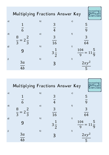 Increasingly Difficult Questions - Multiplying Fractions