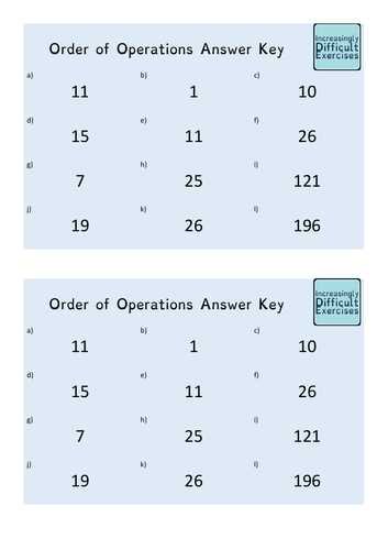 Increasingly Difficult Questions - Order of Operations