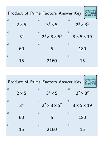 Increasingly Difficult Questions - Product of Prime Factors