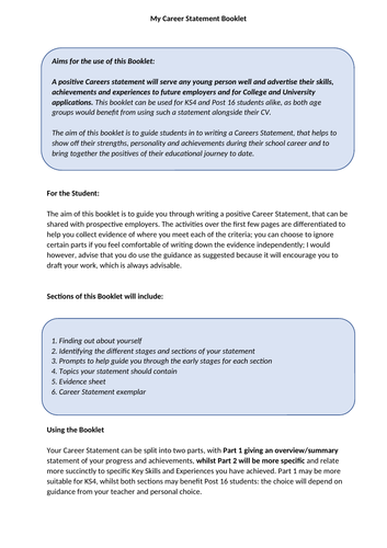 The Gatesby Benchmark and KS4/5 Careers Education. My Career Statement Booklet
