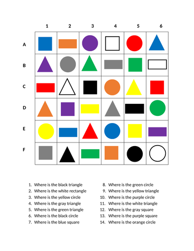 Colors and Shapes in English Find it Worksheet Distance Learning