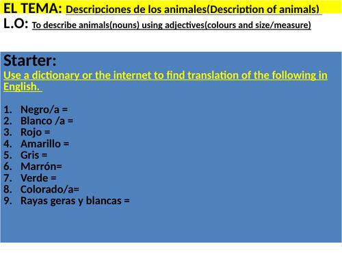 Describiendo los animales( nouns (nombre de animales) and adjectives(color, tamaño, caracteres))