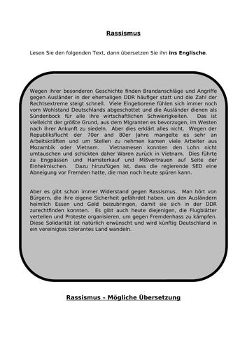 Rassismus - translation into English for AQA A Level German