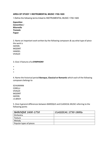 EDEXCEL GCSE MUSIC Setwork AOS 1 Instrumental Music worksheet and answers