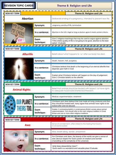 AQA GCSE Religious Studies Theme B - Religion and Life Revision Flashcards