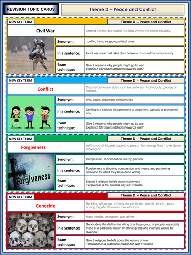 AQA GCSE Religious Studies Theme D - War and Peace Revision Flashcards