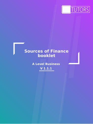 Sources of Finance Activity: A Level Business, GCSE Business