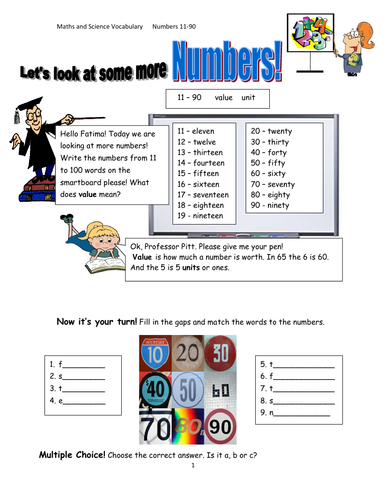 Reading and Writing Numbers 11-99