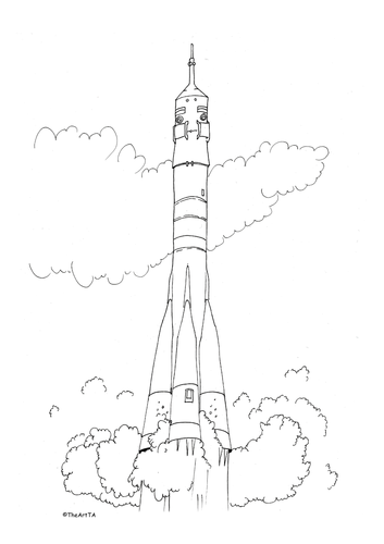 Soyuz space craft colouring sheet